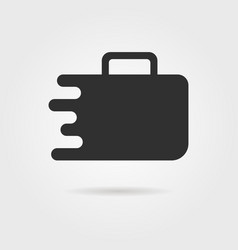 black travel suitcase icon with shadow vector image vector image