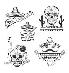 Mexican set of labels and stickers with icons vector image vector image