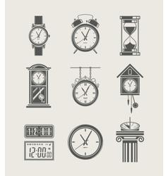 retro and modern clock set vector image vector image