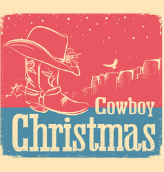 Cowboy retro christmas card with western shoe and vector