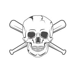 retro skull label vector image