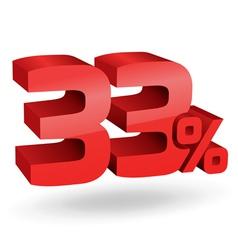 33 percent digits vector image