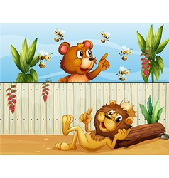 A lion a bear and bees vector image