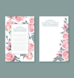 botanical banners with pink roses vertical vector image