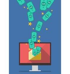 Computer with banknote in envelope vector image