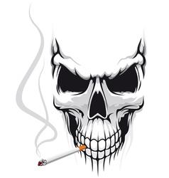 Danger skull smoke a cigarette vector image vector image