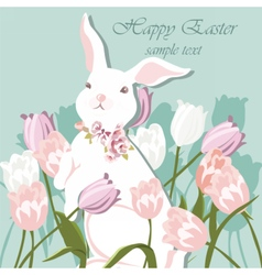 Happy Easter card with bunnies vector image vector image