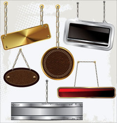 Signs and labels on gold and silver chain vector image vector image