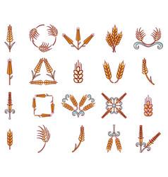 Wheat icon set cartoon style vector