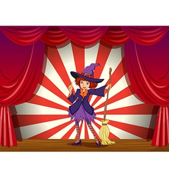 A stage with witch and her flying broom vector