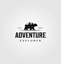 adventure explorer mountain bear walk logo vector image