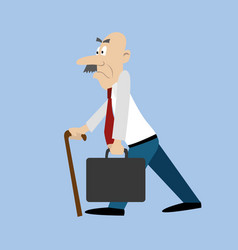 an old man with a mustache and a suitcase vector image