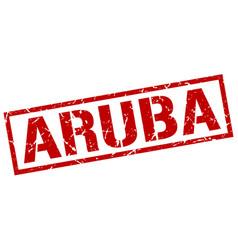 Aruba red square stamp vector