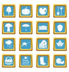 Autumn icons azure vector