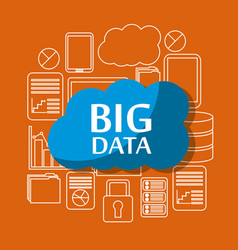 big data cloud security file storage information vector image