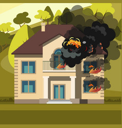 blazing house burning with fire vector image