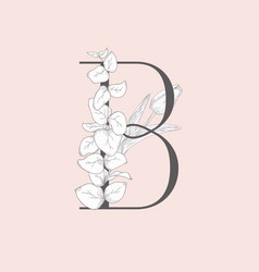 blooming floral elegant b monogram and logo vector image
