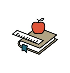 Books and apple vector image