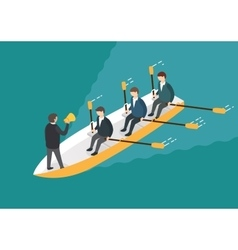 Businessman rowing team Teamwork concept vector image