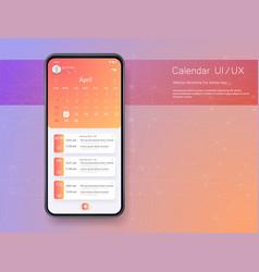 Calendar mobile apptasks ui ux design mockup vector