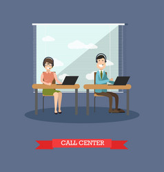 Call center concept in flat vector