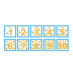 Cards with numbers from 1 to 10 set learning vector