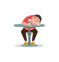 cartoon drunken man sleeping on a table vector image