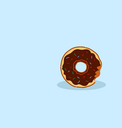 chocolate donut with glaze and crumbs sweet vector image