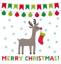 christmas greeting card with a cute cartoon deer vector image