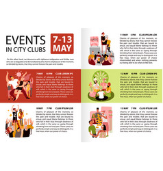 City clubs events infographics vector