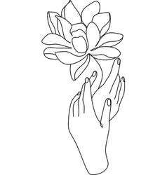 Continuous line drawing hand holding flower vector