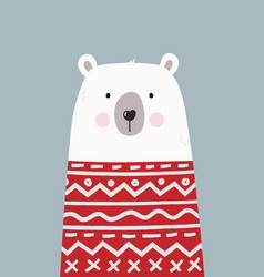 Cute hand drawn polar bear in red sweater vector