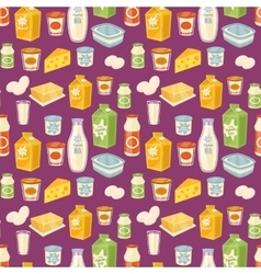 Dairy seamless pattern on blue background vector