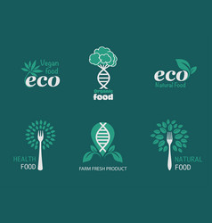 Eco food icons vector