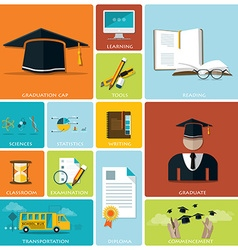 Education And Graduation Flat Icon Set vector