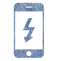 Electric smartphone fabric textured icon vector