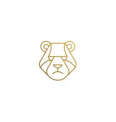 emblem bear head hand drawn with thin vector image
