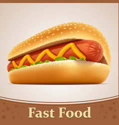 Fast food icon - hot dog vector