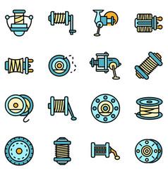 fishing reel icons set flat vector image