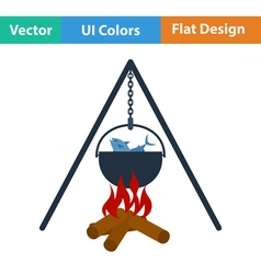 Flat design icon of fire and fishing pot vector