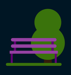 Flat icon bench in park vector