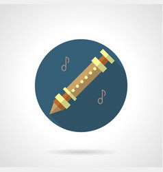 Flute music flat round icon vector