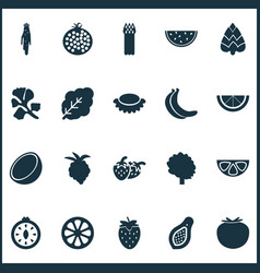 Food icons set with strawberries papaya tree and vector