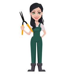 gardener woman cartoon character in uniform vector image