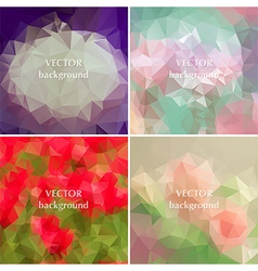 Geometric flowers abstract polygonal elements vector