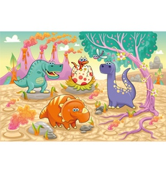 Group of funny dinosaurs in a prehistoric vector