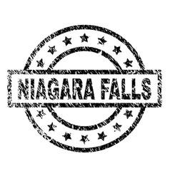 Grunge textured niagara falls stamp seal vector