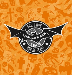 Halloween vintage badge emblem or label vector image