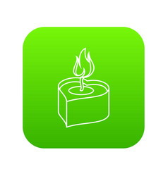 heart candle icon green vector image