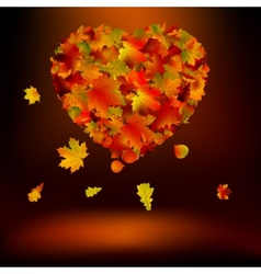 Heart with autumnal leaves EPS 8 vector